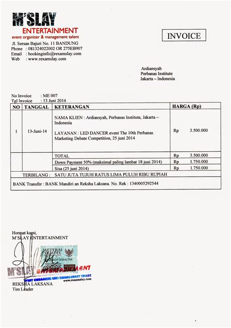 Contoh Invoice Jasa by Contoh Invoice Untuk Payment Contoh Ici