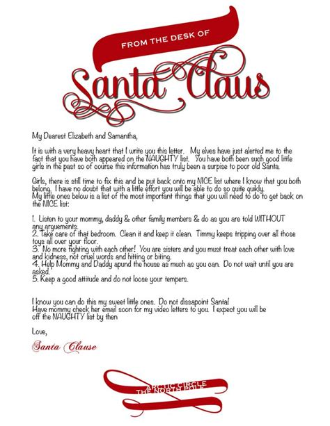 letter  santa template word photographer