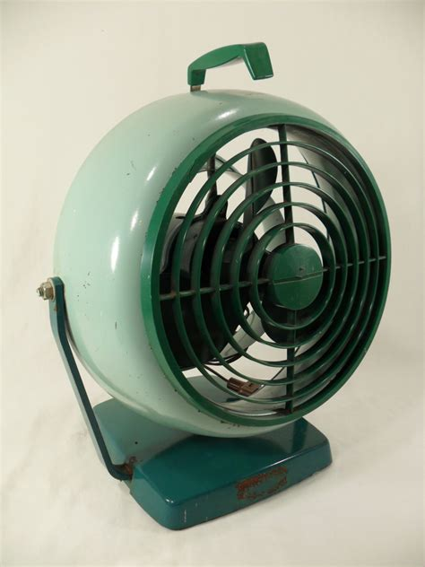 vintage green retro desk fan vornado style