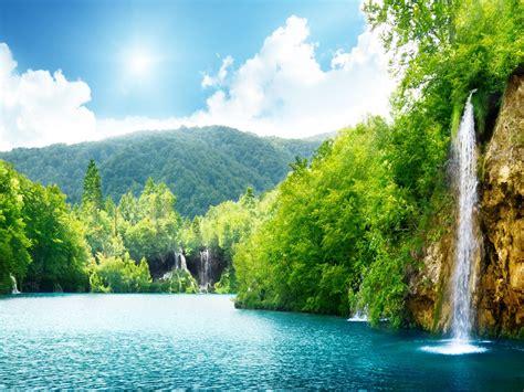 Nature Waterfall Summer Lake Trees Hd Wallpaper 87432 ...