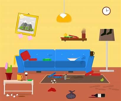 Cartoon Dirty Apartment Messy Vector Clip Organized
