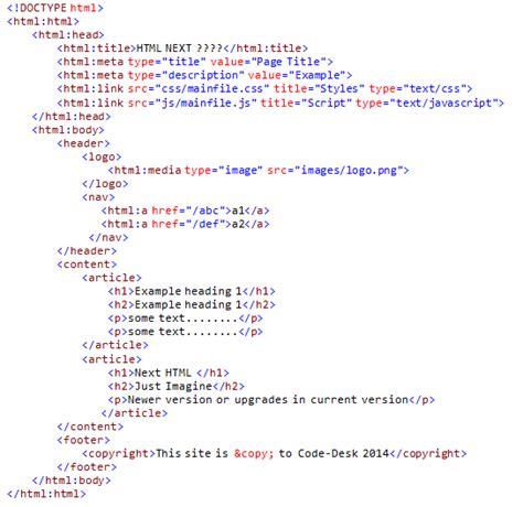 html next version code desk