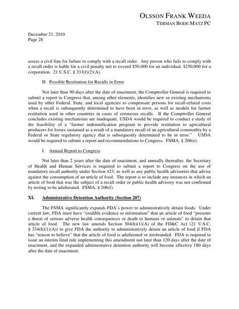 F D A Food Safety Modernization Act