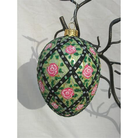 faberge style glass egg ladies christmas ornaments
