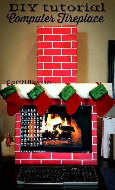 craftibilities holiday office idea fireplace computer