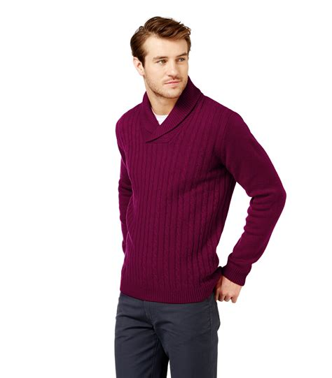 sleeve sweater mens woolovers mens lambswool shawl collared sleeve winter