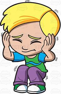 Cartoon Clipart: A Scared Boy Shutting His Eyes And Ears
