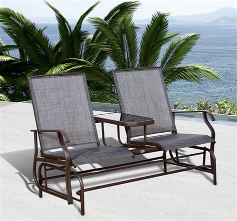 outsunny patio glider rocking chair 2 person loveseat
