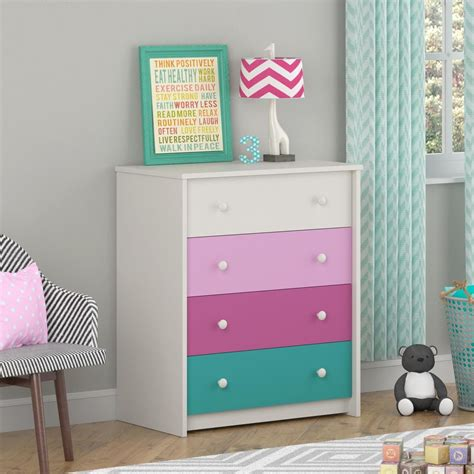 kids girls bedroom  drawer dresser  white pink