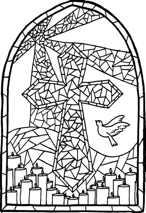 Stained Glass Cross Coloring Page Wecoloringpagecom