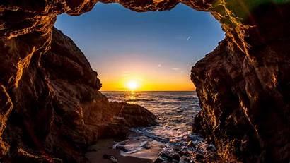 California Beach Sunset Ocean Malibu States United