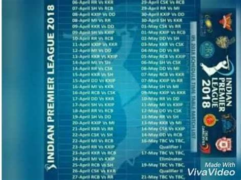 vivo ipl 2018 schedule time table match list