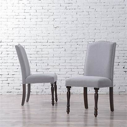 Dining Chair Fabric Linen Parsons Grey Upholstered