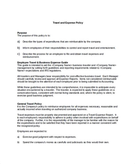 sle travel policy template 9 free documents in word pdf