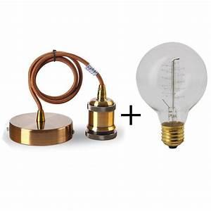 suspension ampoule filament dootdadoocom idees de With carrelage adhesif salle de bain avec ampoule led e27 globe