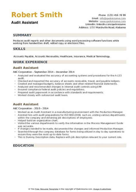 audit assistant resume samples qwikresume