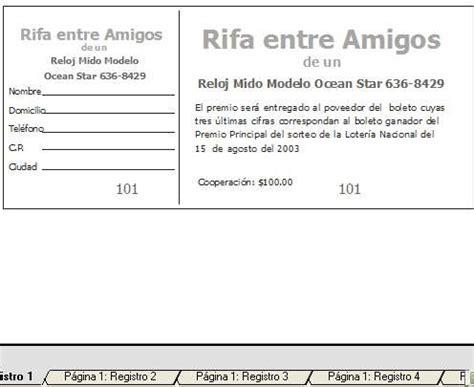 la forma en imposicion ubicamos 3 formatos un tamano carta rifa jardin de ni 241 os rifa boleto