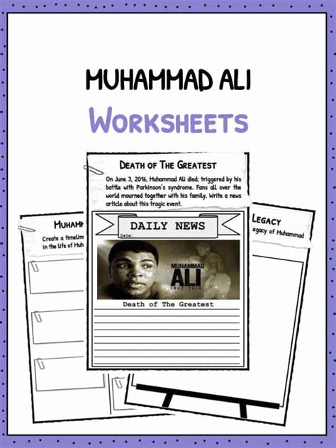 muhammad ali facts worksheets  kids teaching resource
