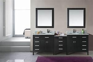 meuble double vasque 50 idees amenagement salle de bain With porte de douche coulissante avec meuble salle de bain double vasque noir laqué