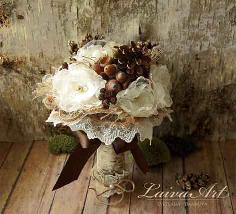 rustic wedding flowers bouquet pine cones wedding bouquet