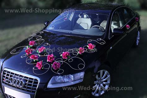 d 233 coration voiture mariage bourgogne roses