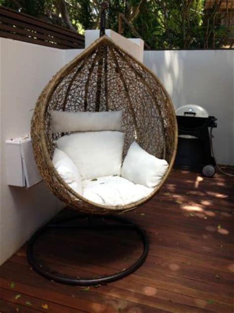 bn wicker hanging swing egg chair rattan in outdoor pod in