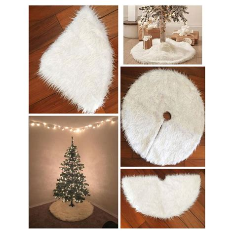 1pc white plush christmas tree skirt aprons christmas tree