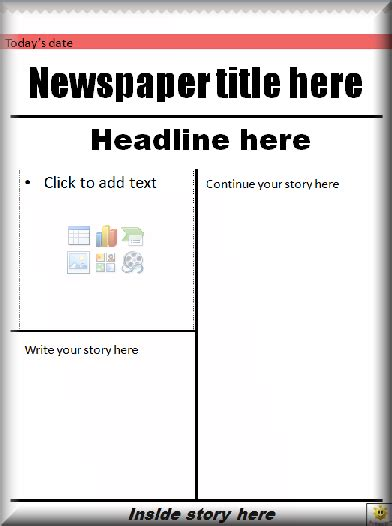 newspaper front page template literacy
