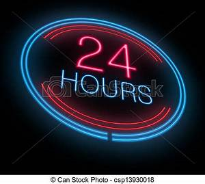 Clipart of Open 24 hours Illustration depicting an
