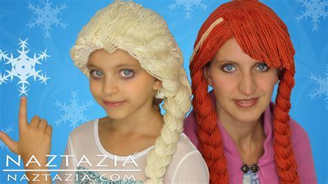 diy tutorial yarn wig hair disney frozen elsa anna braid