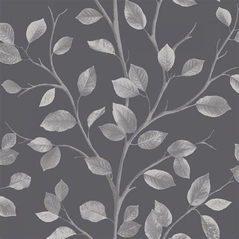 fine decor woodland leaf wallpaper black silver fd