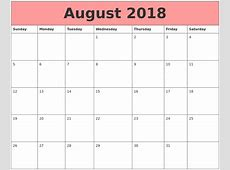 Free August 2018 Calendar in Printable Format Templates