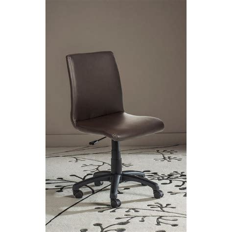 safavieh hal brown faux leather office chair fox8501a
