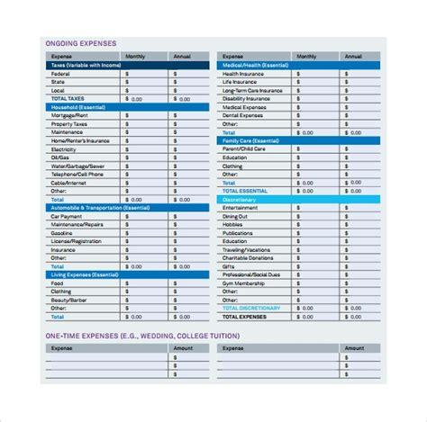 sample expense sheet templates