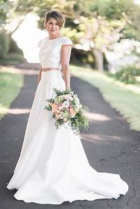 Picture Of a modern plain two piece wedding dress with a