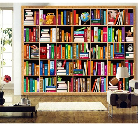 bookshelf mural custom photo wallpaper bookshelf background wallpaper