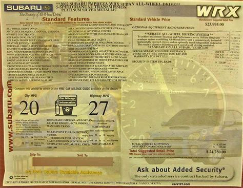 subaru window stickers monroney labels  years models