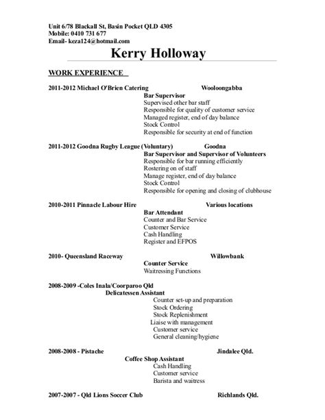 Bottle Service Resume Sle by K Holloway Resume