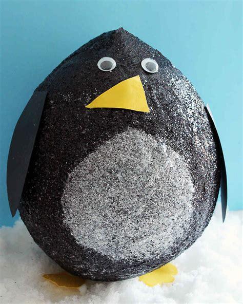 glittered papier mache penguins martha stewart