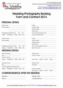 wedding photography booking form and contract 2014 With booking terms and conditions template