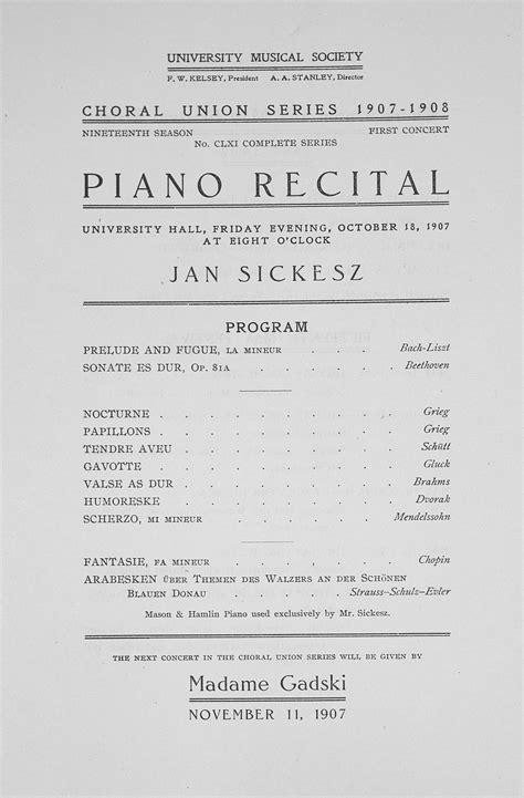 piano recital program ums concert program october 18 1907 choral union series piano recital musical