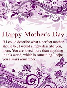 To my Perfect Mom - Happy Mother's Day Card   Birthday ...
