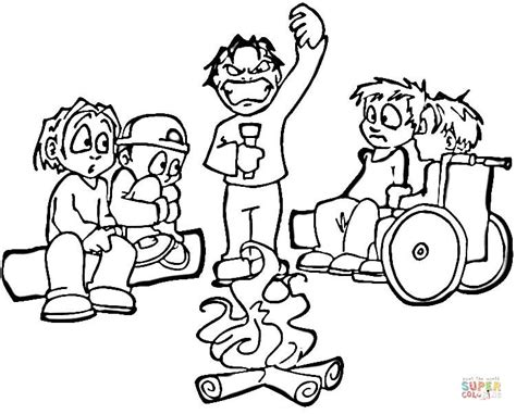 Scary Campfire Stories Coloring Page