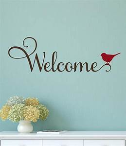 welcome bird vinyl decal wall decor sticker words With vinyl lettering wall art