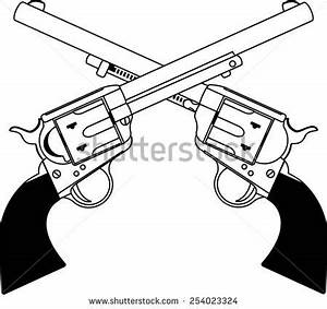 Weapon clipart crossed gun - Pencil and in color weapon ...