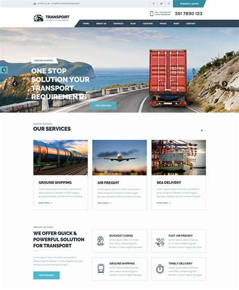 Html5 Template Transport Html5 Template Buy Premium Transport Html5 Template