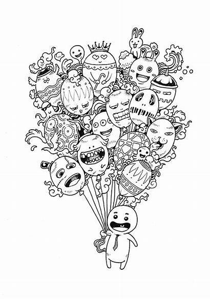 Doodle Coloring Invasion Behance Kerby Rosanes Adult