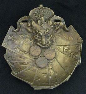 Vintage Devil Head Advertising Bronze Coin Tray ...