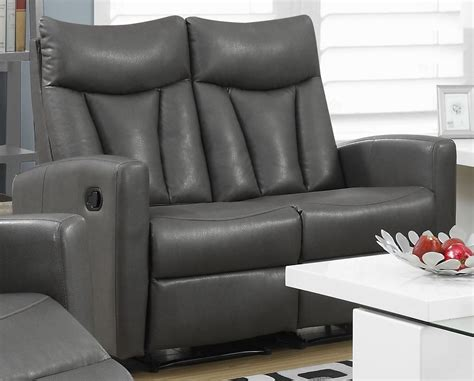 Gray Leather Loveseat by 87gy 2 Charcoal Grey Bonded Leather Reclining Loveseat
