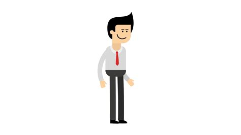 A Cartoon Man In Shirt And Red Tie Start, Walk And Stop
